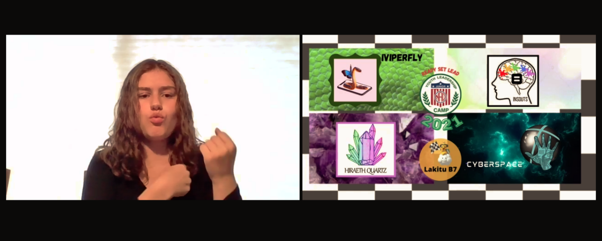 Two screens of Ella explaining the meaning of the YLC banner.